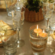 Table setting with candles — ストック写真