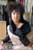 Woman with unusual hairdo — Stock Photo