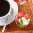 Strawberry dessert and coffee — Zdjęcie stockowe #3213302