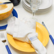 Dishes in blue-yellow color — Stock Photo