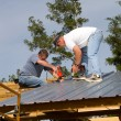 Construction Workers On Roof — Stock Photo