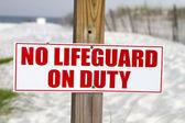 No Lifeguard On Duty — Stock Photo