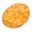 Pizza with ham and pineapple — Stock Photo