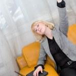 Joyful blonde woman — Stock Photo
