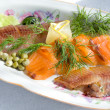 Smoked salmon and herring — Stock Photo