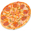 Stock Photo: Pizza with bacon, peperoni and mushrooms