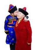 Grandson kisses his grandmother — Stock Photo