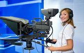 Teleoperator at TV studio — Stock Photo