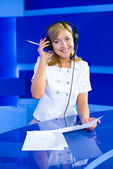 Woman dispatcher — Stock Photo