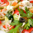 Vegetables with sheep cheese, macro - Stock Photo