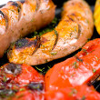 Stock Photo: Grilled sausages, macro