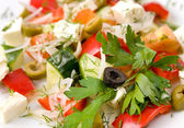 Vegetables with sheep cheese, macro — Stock Photo