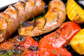 Grilled sausages, macro — Stock Photo