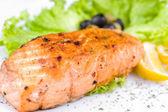 Grilled salmon, macro — Stock Photo