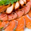 Smoked salmon, macro - Stock Photo