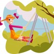 Stock Vector: Happy girl playing on a swingset