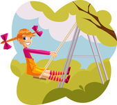 Happy girl playing on a swingset — Stock Vector