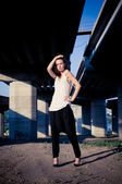 Glamour model near bridge — Stock Photo