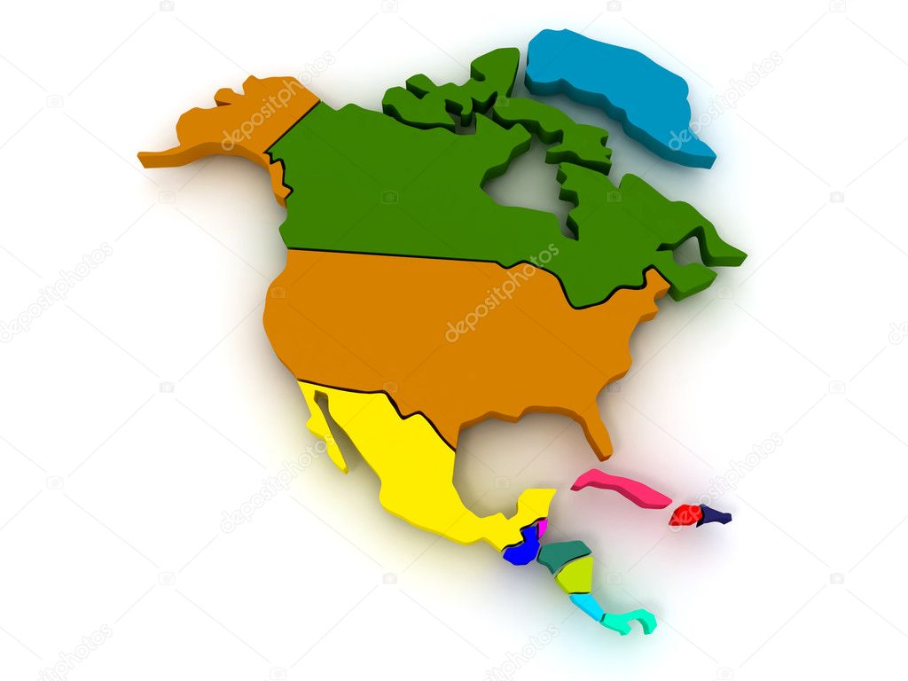Map of northern america. 3d — Stock Photo #2821740