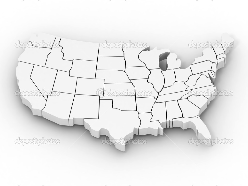 Map of USA. 3d — Stock Photo #2920448