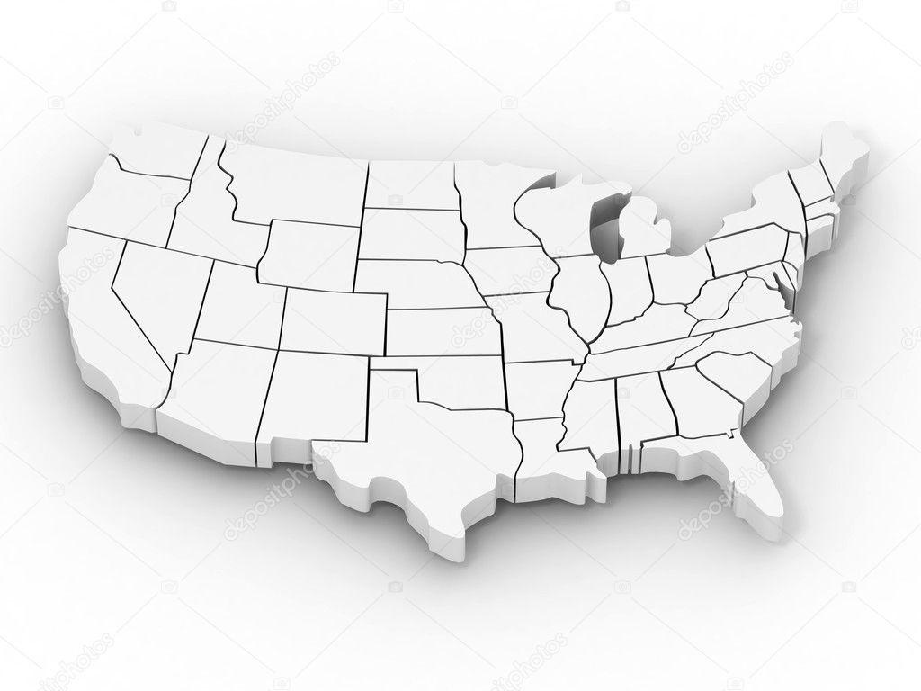 Editable Usa Map - Us 3d map