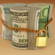 dollar, euro, rubel lock — Stockfoto