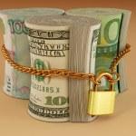 dollar, euro, roebel Lock — Stockfoto