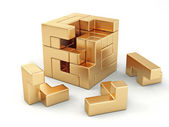 A cube built from blocks. Puzzle — Stock Photo