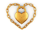 Chain with lock as heart — Stockfoto