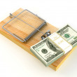 Mousetrap with dollar — Stock Photo