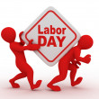 With box with the inscription labor day. — Stock Photo