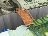 Bridge between euro and dollar — Stock Photo