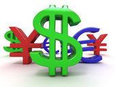Yen, dollar, euro. Signs — Stock Photo
