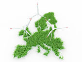 Wind power generators on the map of Europe — Stock Photo
