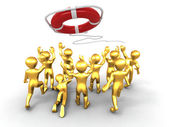 Group of and lifebouy — Stock Photo