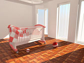 Children's bed in an empty room, lit by sunlight — Stock Photo