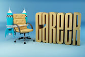 Career opportunities. Office armchair with rocket — Stock Photo