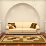 Inteiror. Sofa between the columns in white room — Stock Photo