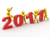 New Year. Men with numbers 2011 — Stock Photo