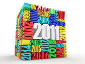 New year 2011. Cube consisting of the numbers — Stock Photo