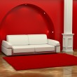 Inteiror. Sofa between the columns in red room — Stock Photo