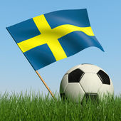Soccer ball in the grass and flag of Sweden. — Stock Photo