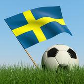 Balón de fútbol en el césped y la bandera de suecia. — Foto de Stock