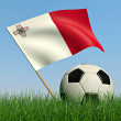 Soccer ball in the grass and the flag of Malta — Stock Photo