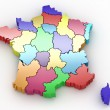 Three-dimensional map of France on white isolated background - Stock Photo