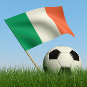 Soccer ball in the grass and flag of Ireland. — Stock Photo