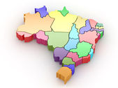 Three-dimensional map of Brazil. 3d — Stock Photo