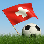 Soccer ball in the grass and flag of Switzerland. — Stock Photo