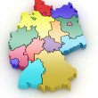 Three-dimensional map of Germany. 3d - Stock Photo