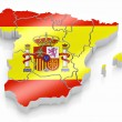 map of spain in spanish flag colors — Stock Photo